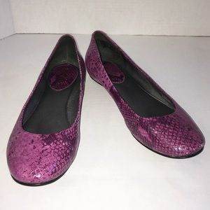 Cole Haan Purple Snakeskin Textured Flat Shoes